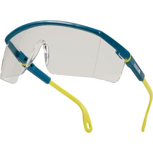 Lunette à branches en polycarbonate monobloc branches nylon ajustables et inclinables protection latérales traitement : anti-rayures poids : 32 gr. teinte oculaire : incolore (uv400) conforme aux normes en 170, en 172.